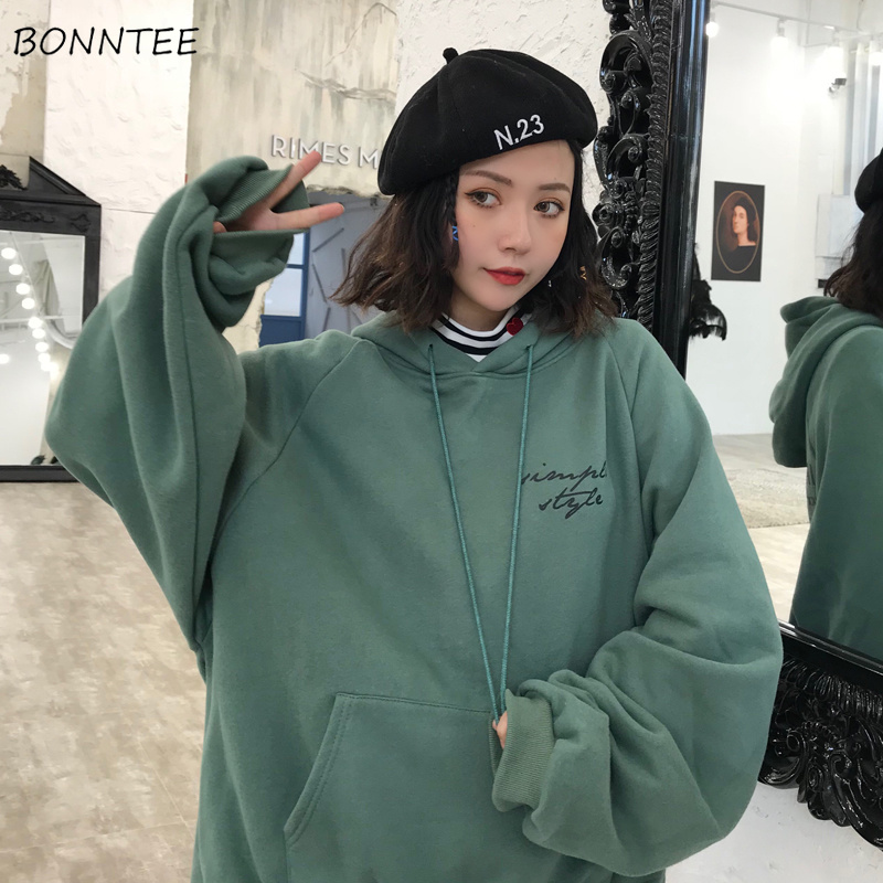 Hoodies Women Winter Elegant Trendy Leisure Hooded Solid Womens Pullover Students Letter Printed Long Sleeve Ladies