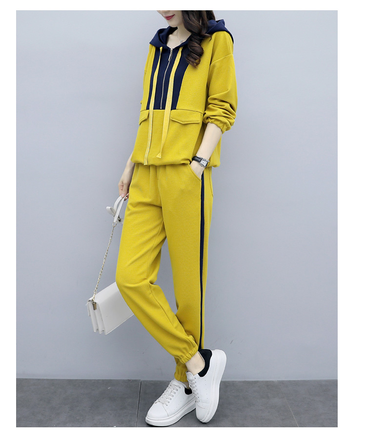 Plus Size Yellow Sport Two Piece Outfits Sets Tracksuits Women Hooded Sweatshirt And Pants Suits Casual Fashion Korean Sets 2019 41