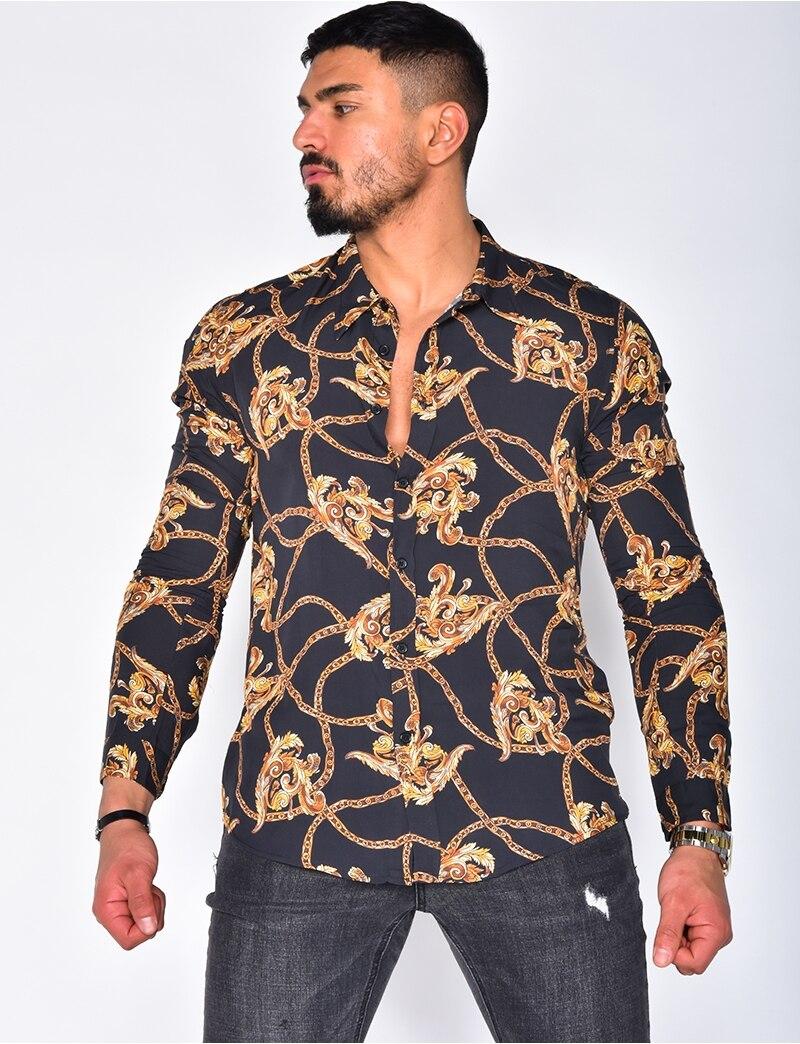 2021 Personality Men Printing Casual Slim Long-sleeve Shirt Print Top Slim Party Shirts Male Dress Shirt Men Clothes