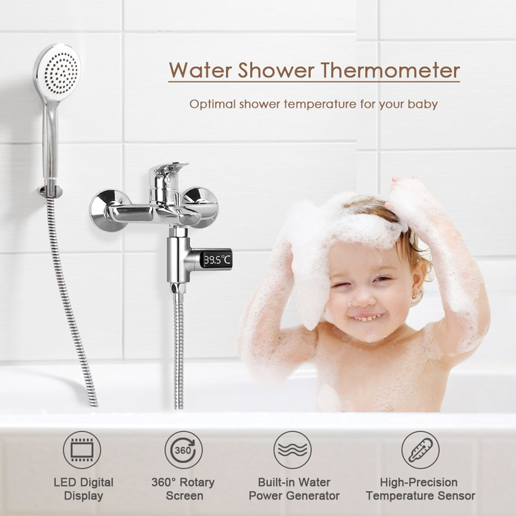 Water Bath Thermometer LED Digital Shower Temperature Display 0~100℃ Baby Bath Water Thermometer Celsius/Fahrenheit Display 360° Rotating Screen for Kids Adults Home Kitchen Bathroom 3