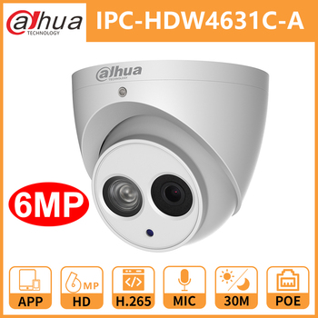Dahua IPC-HDW4631C-A metal shell 6MP Built-in MIC POE IR 50m IP67 IK10 ip camera replace IPC-HDW4431C-A CCTV camera ahua ipc eb5531 5mp wdr panorama 180 degree built in mic with sd card slot poe network fisheye ip camera replace ipc eb5500