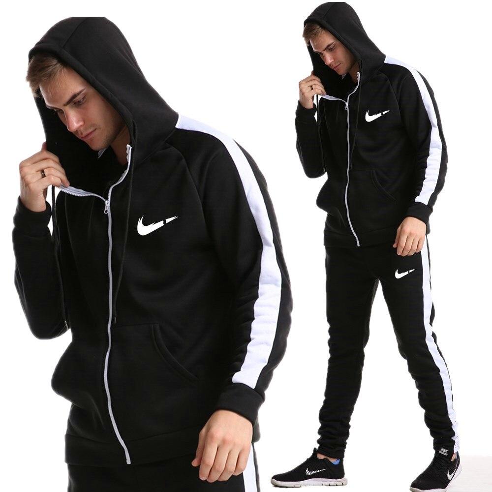 2019 New Winter Tracksuits Men Set Causal Patchwork Jacket Men 2Pcs Tracksuit Sportswear Hoodies Sweatshirt Pants Suit