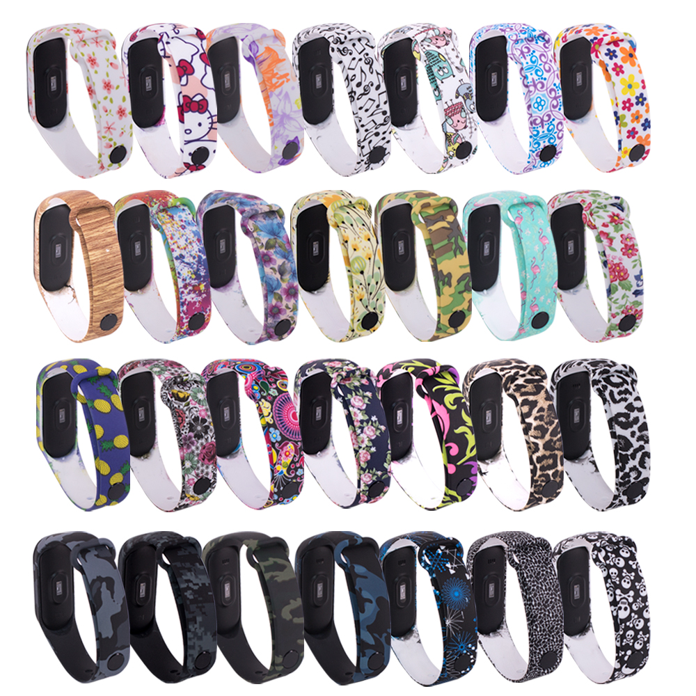 For Mi Band 4 Strap Bracelet Replacement For Xiaomi Miband 3 4 Universal Silicone Wrist Strap Colorful Flowers For Mi3 Belt