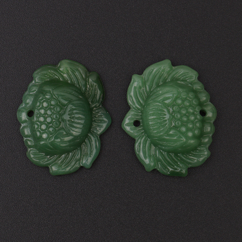 Vivid Natural Hand-carved Green Lotus Pendant Jadeite Jewelry Pendant For Women Jewelry image