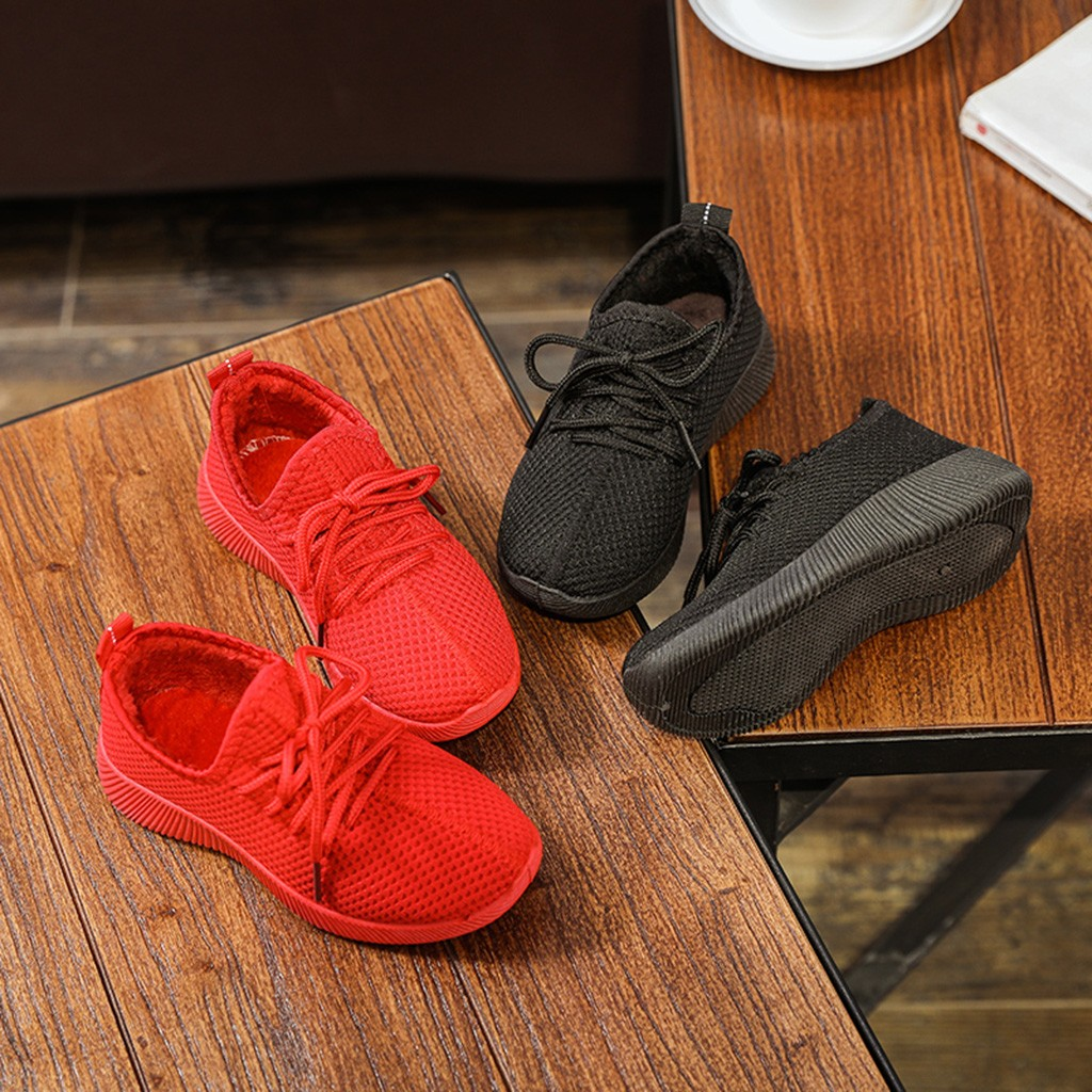 Solid Lace-Up Kids Sneakers Children Baby Girls Boys Winter Warm Sport Running Sneakers Shoes Chaussure Enfant Baby Sneakers