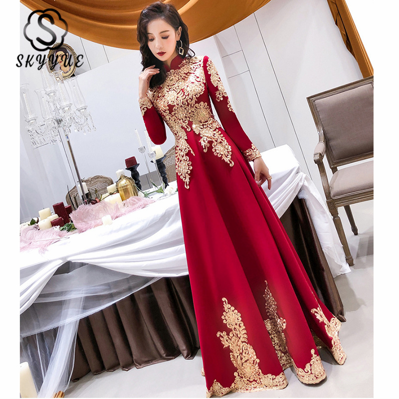 Skyyue High Collar Evening Gown K341 Lace Floor-Length A-Line Elegant Evening Dress Long Sleeves Zipper Formal Dresses For Women