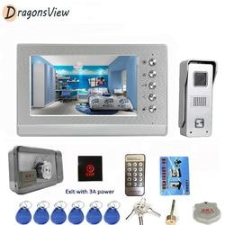 DragonsView wideodomofon domofon telefoniczny z zamek elektroniczny System kontroli dostępu do domu 7 Cal Monitor 1000TVL IR dzwonek