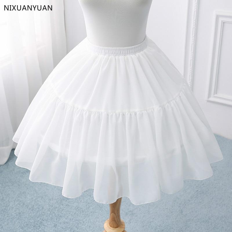 Black Or White Short Petticoats For Wedding Lolita Woman Girl Underskirt Crinoline Fluffy Pettycoat Hoop Skirt