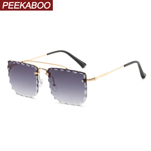 Peekaboo women rimless sunglasses square clear color ladies