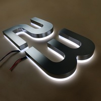 Popular customized house number stainless steel backlit led letter sign in variable in style for shop / house