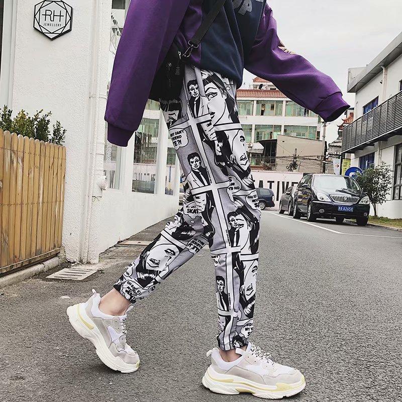 Man's Fashion Cartoon Comics Print Pants Loose Sport Casual Drawstring Elastic High Waist Joggers Pants Hip Hop Cropped Trousers
