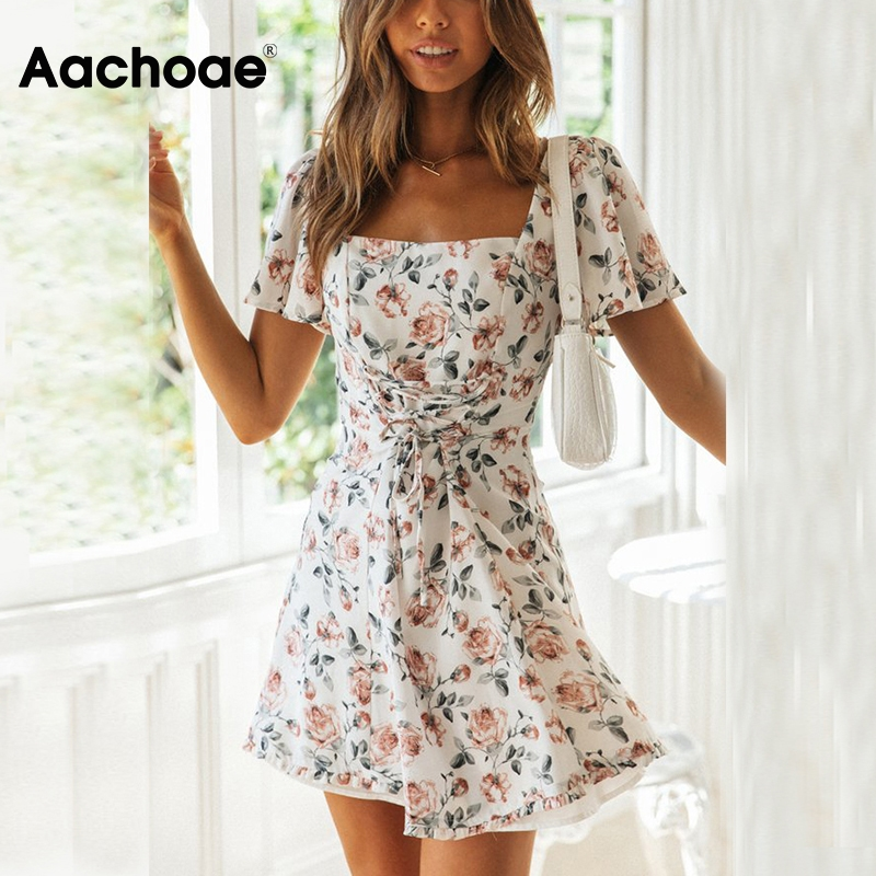Aachoae Women Floral Print Elegant Dress Flare Short Sleeve Casual A Line Dresses Lady Mini Beach Dress Sundress Summer Vestidos