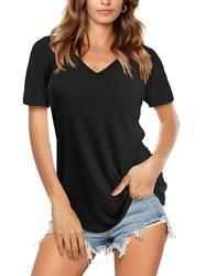 Womens Scoop Neck Short Sleeve Tee Tops Cotton T-Shirts for Summer Cotton  Three Quarter