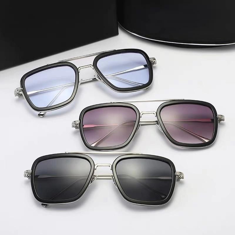 Steampunk Men Sunglasses Tony Stark Iron Man Sun Glasses Vintage Metal Eyewear Punk UV400 Male Gafas Free shipping for Brazil