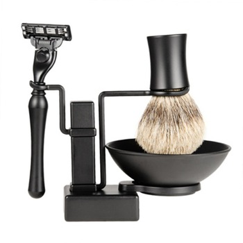 Men's Retro Manual Razor Set Razor Shaving Brush Shaving Brush Rack Portable For Travel Durable 4 Sets 1