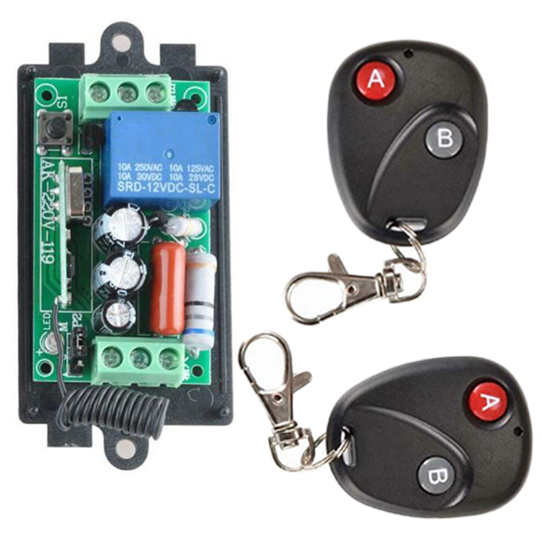 Wireless AC 220V 1CH RF 433MHz 2 Pcs Remotes Control Switch Modules Learning Code Relay Smart Temperatures Control System