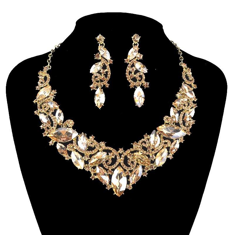 Conjunto de joyas formal indio Pendientes y Collar declaración de noche de novia