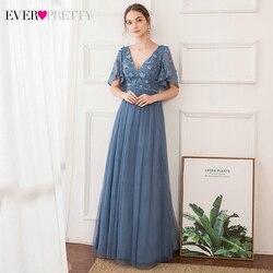 Элегантные пыльные синие платья для выпускного вечера Ever Pretty EP00722 трапециевидные кружевные вечерние платья с v-образным вырезом и рукавами ...