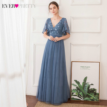 Elegant Dusty Blue Prom Dresses Ever Pretty EP00722 A-Line V-Neck Ruffles Sleeve Embroidery Lace Party Gowns Vestido Baile Gala