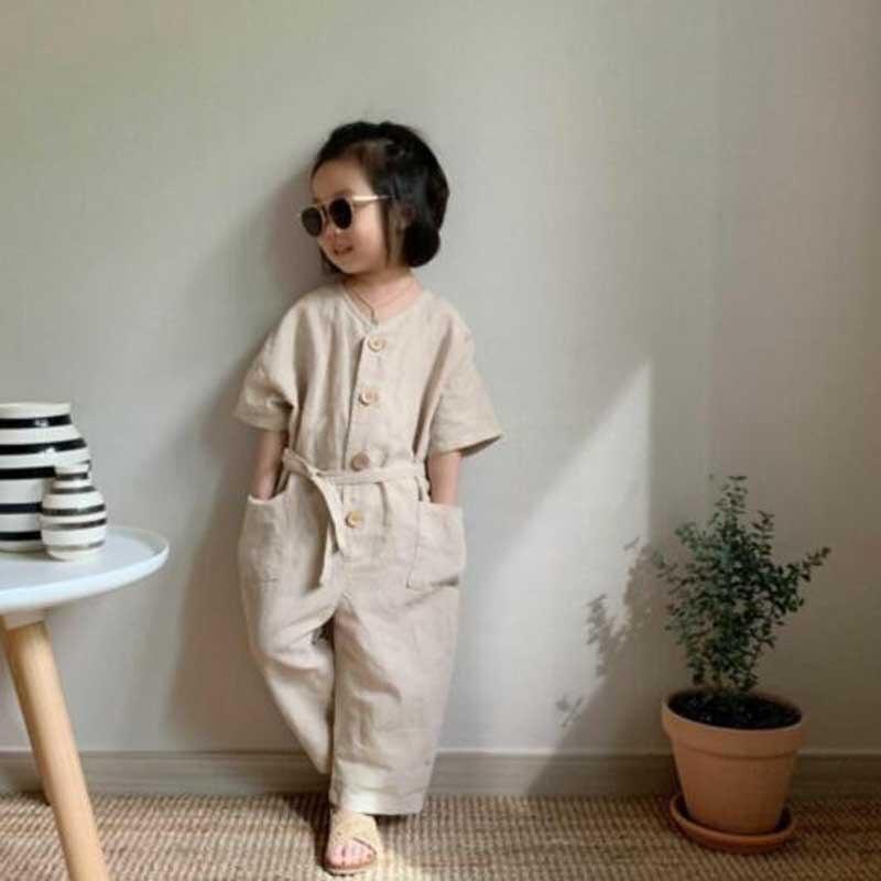 MILANCEL girls overalls v-neck boys jumpsuits single breast kids playsuit breathable overalls