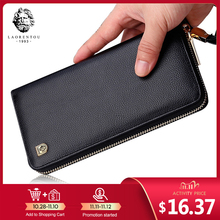 LAORENTOU Men Genuine Leather Long Wallet Large Capacity Zipper Wallet Man Card Holder Bifold Wallet Clutch with Wristlet