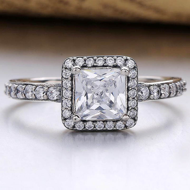 Original Four Claw Timeless Elegance With Crystal Rings For Women 925 Sterling Ring Wedding Gift Fine Jewelry