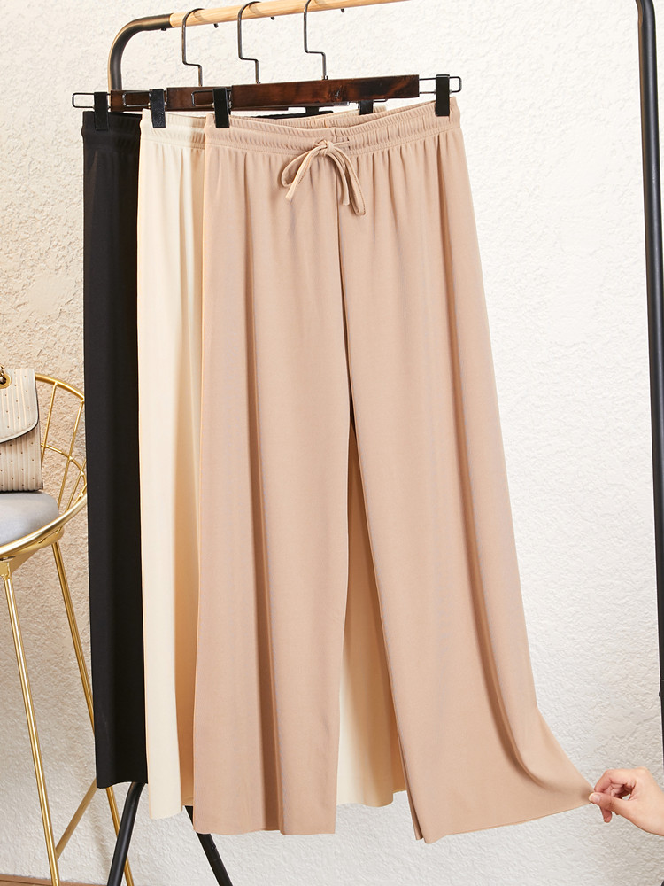 Women Pantalones Tie Wide Leg Solid Color Pant Female High Waist Thin Chiffon Plus Size Casual Ladies Culottes Trousers J2
