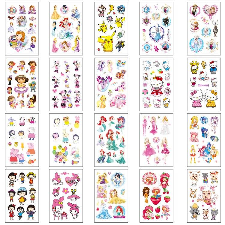20 pçs falso tatuagem adesivos dos desenhos animados tatuagem temporária crianças mãos braço diy arte do corpo tatuaze dla dzieci tatuajes temporales
