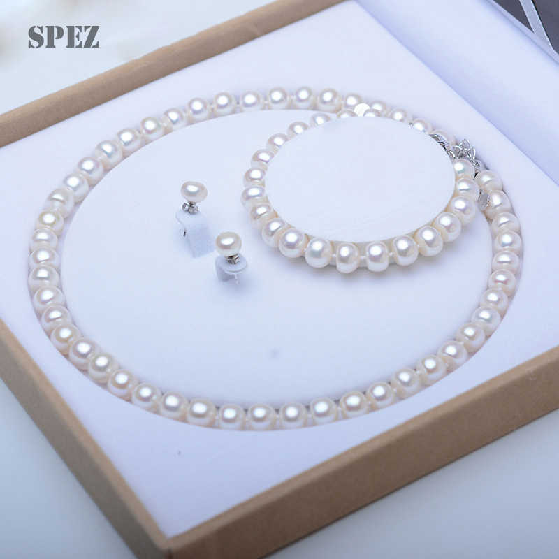 Pearl Jewelry Sets 100% Natural Freshwater 925 Sterling Silver Jewelry Pearl Necklace Earrings Bracelet For Women Gift SPEZ