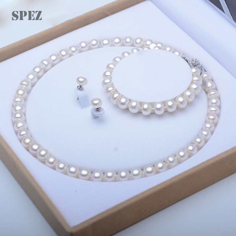 Pearl Jewelry Sets 100% Natural Freshwater 925 Sterling Silver Jewelry Pearl Necklace Earrings Bracelet For Women Gift SPEZ-in Jewelry Sets from Jewelry & Accessories