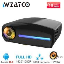 WZATCO C2 1920*1080P מלא HD 200 אינץ AC3 4D keystone LED מקרן אנדרואיד 10.0 Wifi נייד 4K בית תיאטרון מקרן Proyector