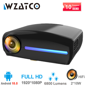 Image 1 - Wzatco c2 1920*1080p hd completo 200 polegada ac3 4d keystone led projetor android 10.0 wifi portátil 4k casa teatro beamer proyector