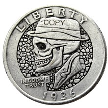 W(10) Hobo 1936 Washington Quarter Dollars Skull Zombie Skeleton Hand Carved Silver Plated Copy Coins