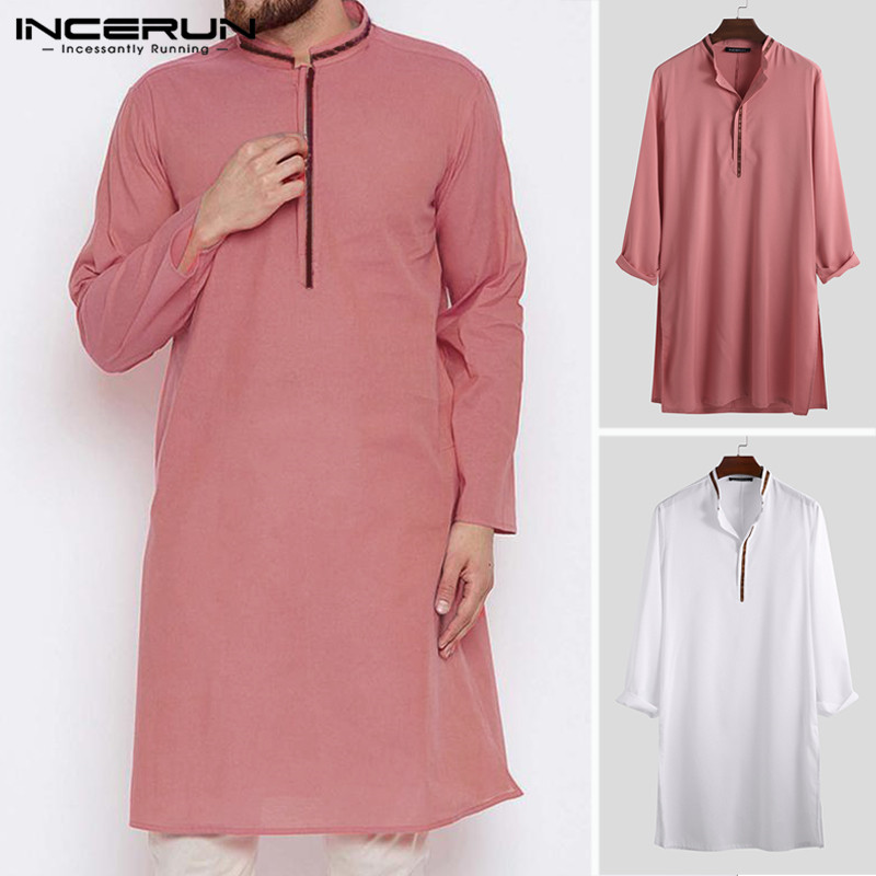 Men Muslim Islamic Kaftan Vintage Stand Collar Long Sleeve Robes Abaya Saudi Arabia Dubai Jubba Thobe Men Clothing 2020 INCERUN