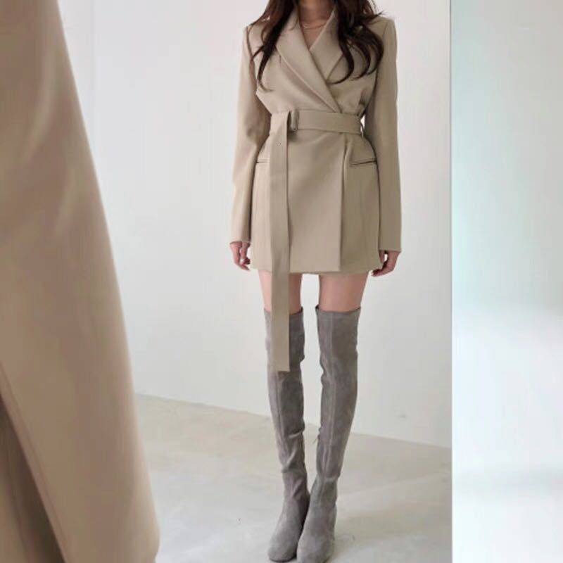 Autumn Winter Women's Sashes Blazer Women Casual England Style Notched Jacket Coat With Belt Winter High Quality Outerwear Femme