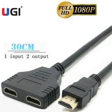 UGI 1080P HDMI uyumlu Splitter 1 giriş 2 çıkış erkek 2 kadın kablo adaptörü dönüştürücü 3D 30cm monitör Xbox360 PC PS3