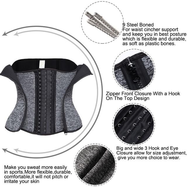 Women Neoprene Body Shaper  Shaper Slimming Belt Waist Trainer Sweat Thermo Fat Burning Shapewear Modeling Strap Girdle Faja 2