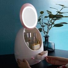Зеркало HD светодиодные косметический ящик для хранения ювелирных изделий макияж организатор USB зарядный настольный корпус ящика дропшиппинг