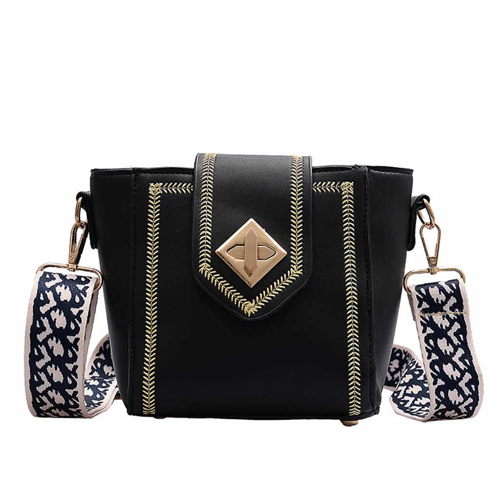 PU cuir femmes sacs de messager femme sacs à main 2019 mode large serrure sangle dames épaule sac de messager femme seau sac