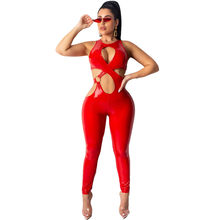 Sexy Cross Hollow Out PU Lederen Jumpsuit Vrouwen Overalls Mouwloze Skinny Bodycon Bandage Night Club Romper Combinaison Femme(China)