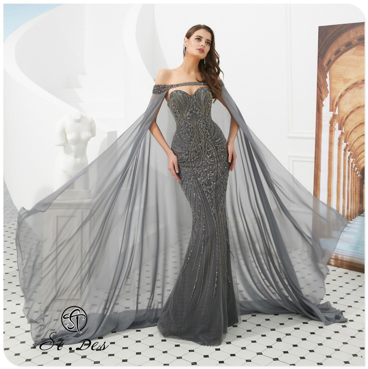 2020 S.T.DES New Arrival Mermaid Strapless Cape Grey Sleeveless Shining Floor Length Sequined Sexy Evening Gowns Party Dress