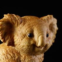 Boxwood 6CM Koala Sculpture Cute Animal Wood Statue Lucky Collection Home Decor