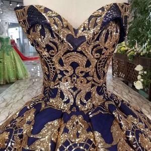 Image 5 - HTL387G Navy Blau Dubai Abendkleid 2020 Plus Größe Goldene Off Schulter Schatz Für Frauen Geschwollen