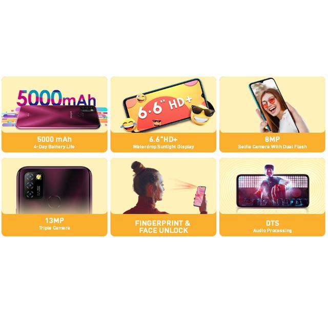 Global Version Infinix Hot 10 Lite Smart Phone 6.6''HD screen 5000mAh Battery 1600*720P 13MP Camera Helio A20 4