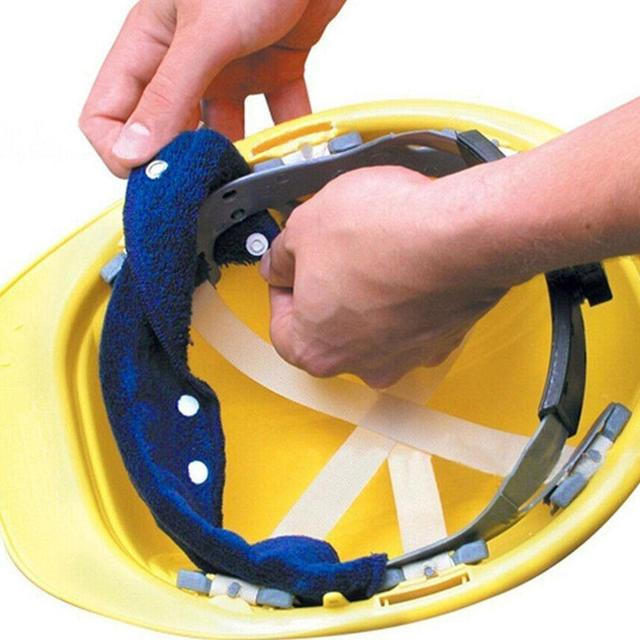 1pc Summer Selling Beat The Heat Blue Snap-on hard hat sweatband sweat belt for Safety helmet inner d90621 1