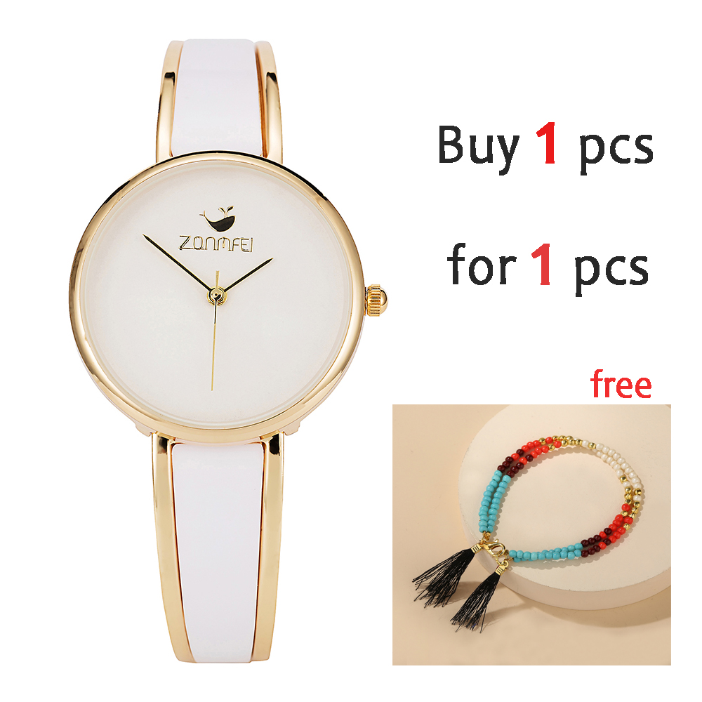 Buy 1 for 1pcs Good quality watches women white band simple watch dial ladies quartz watches alloy 2 colors