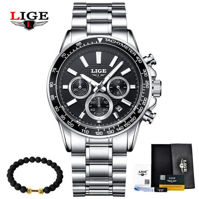 LIGE Mens Watches Top Brand Luxury Quartz Watch Hour Date Clock Fashion Casual Steel Watch Men Military Erkek Kol Saat