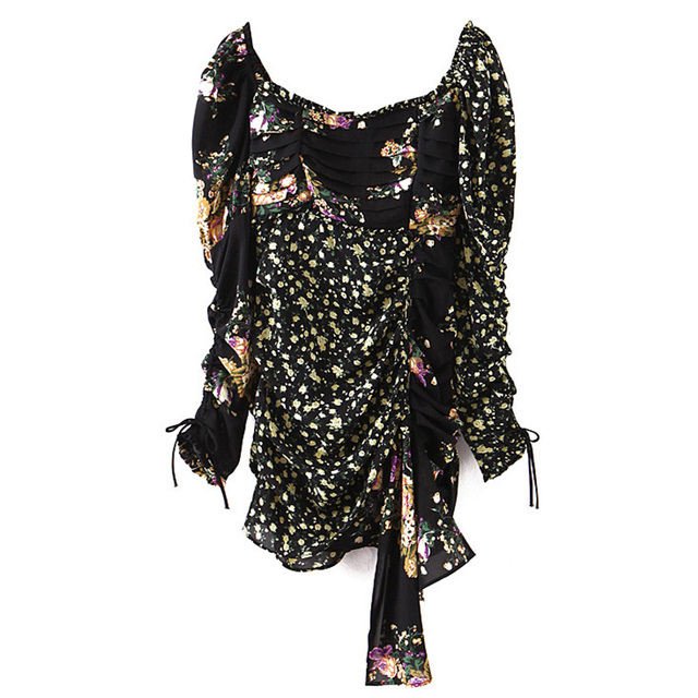 For Insider Floral print black chiffon dress Women puff sleeve patchwork drape bodycon dress Vintage party christmas dress sexy