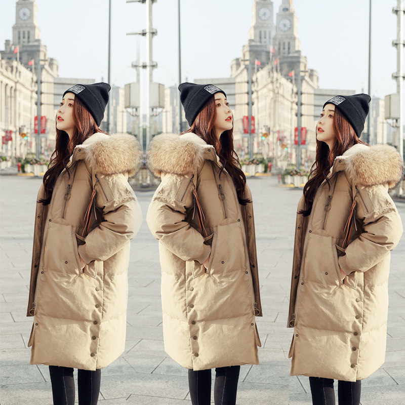 2019 Winter Fashion Brand Good Quality Longer Real Duck   Down     Coat   Female Real Fur Collar Hooded Warm   Down     Coats   J8271