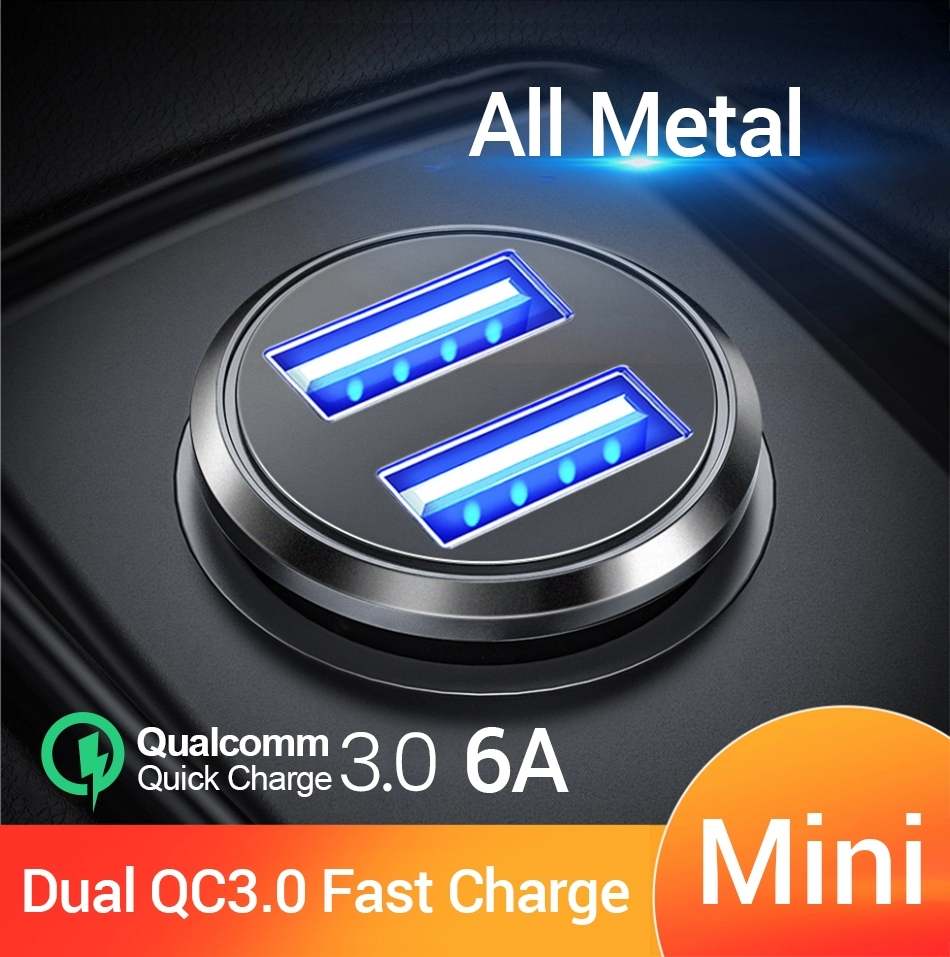 FIVI Car-Charger Huawei Xiaomi Mi Samsung S8 Mini All-Metal USB For S9 S10 Dual-Qc